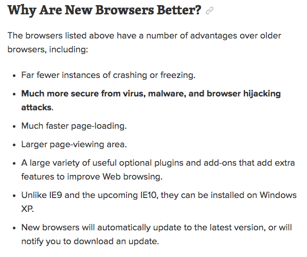 Why are new browsers better?