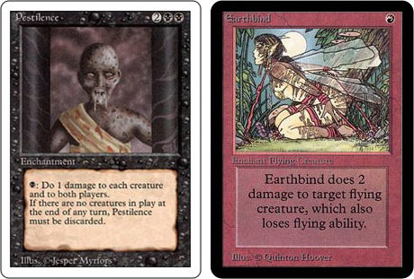 Pestilence and Earthbind Magic: The Gathering cards