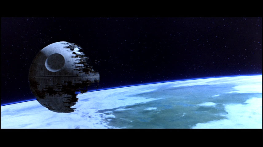 The second Death Star floating over Endor