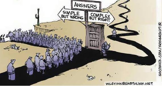 Non Sequitur Comic about not accepting simple but wrong answers