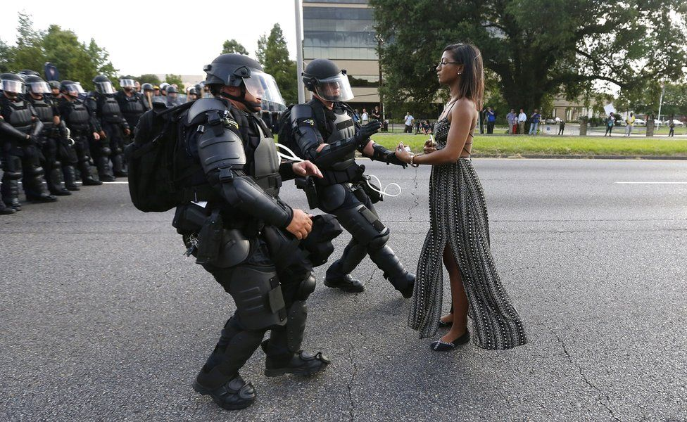 An important photo of a peaceful #BlackLivesMatter protester in Baton Rouge.