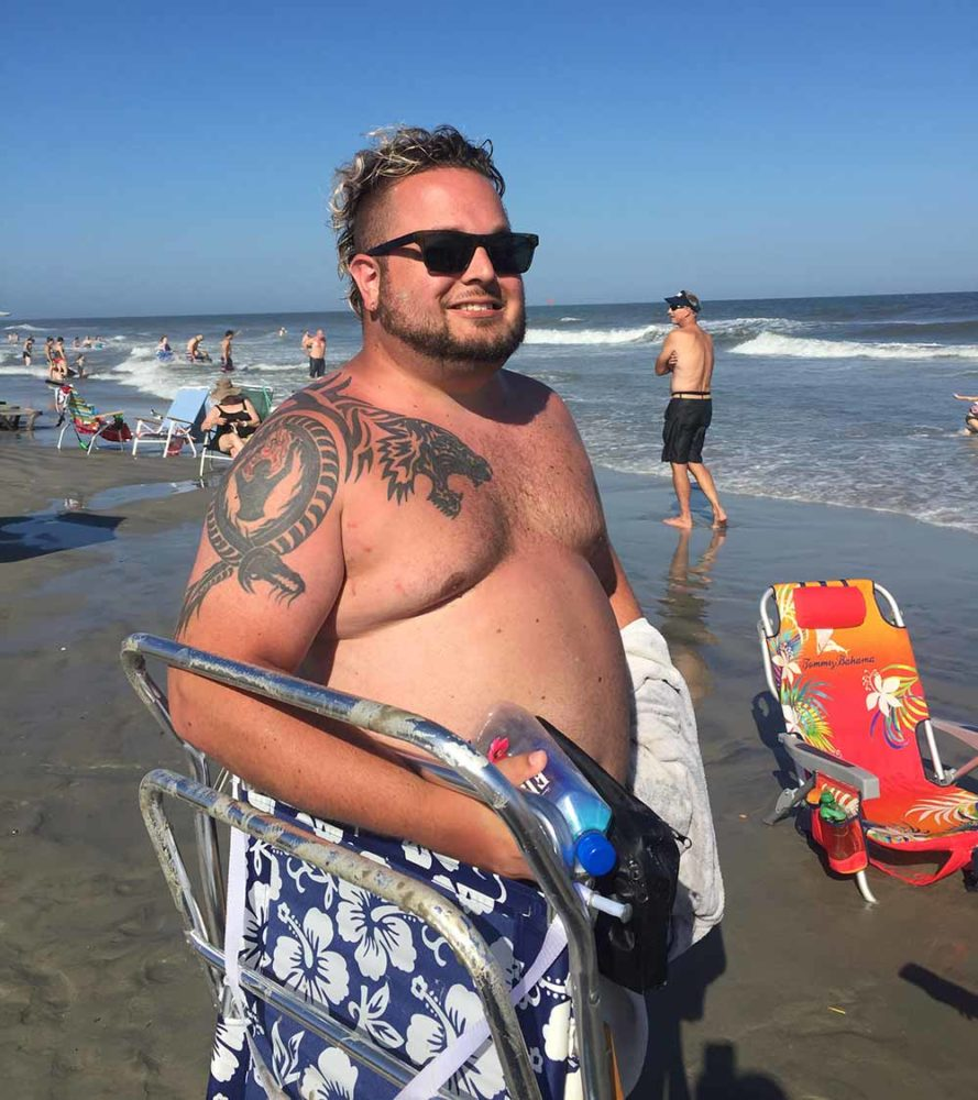 Me looking huge at the beach in August 2016