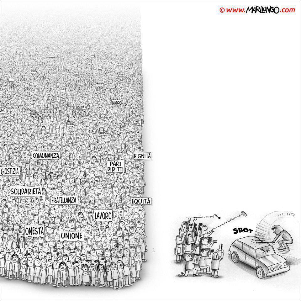Cartoon showing the media ignoring thousands of nonviolent protesters to film single vandal