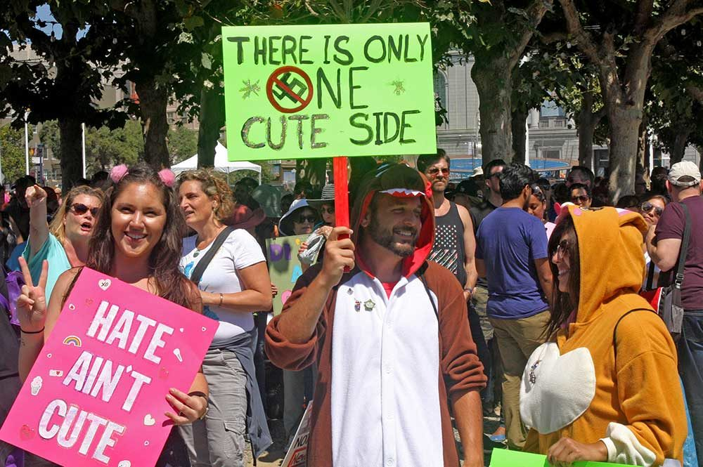 Cute Protesters at Civic Center 8/27/2017