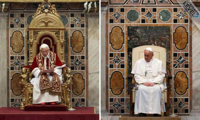A comparison of the lavish garments and furniture of Pope Benedict and the simple ones of Pope Francis