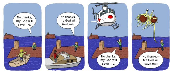 [comic] A person refuses a boat, helicopter, and even another deity saying that THEIR god will save them instead