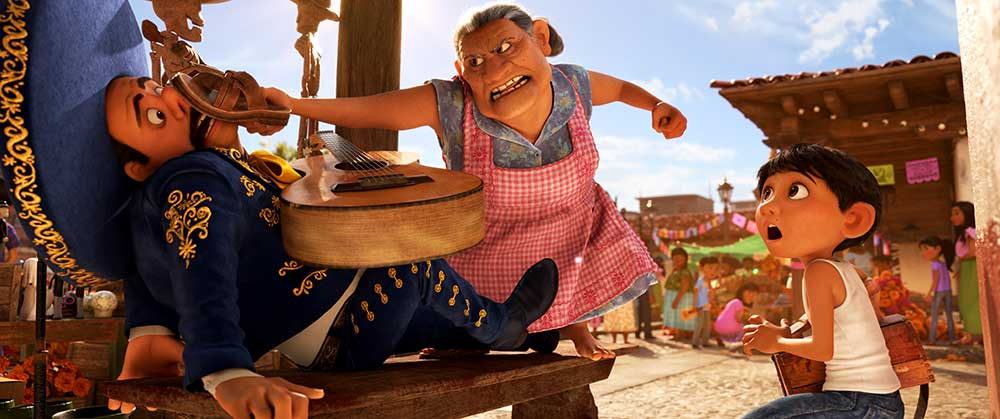 Best Movies of 2017: Coco (grandmother assaults a mariachi with her shoe)